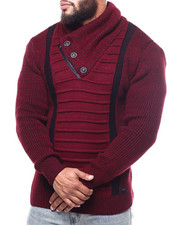 Big & Tall - Ribbed Front Button Trim  Sweater (B&T)-2302779