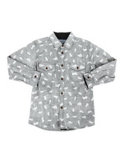 Arcade Styles - Long Sleeve Woven Motorcycle Print Shirt (8-20)-2303001