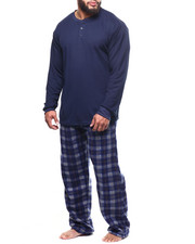 Sets - Big & Tall Plaid Thermal 2 Piece Set-2304149