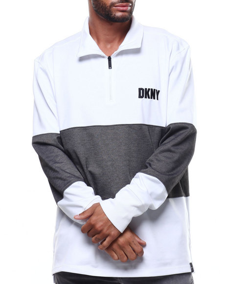DKNY - LS Mock Neck Zip Colorblock LS Knit Shirt