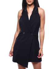 Dresses - S/L 2 Button Halter Tuxedo Dress-2304253