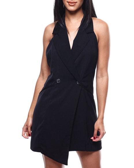 Fashion Lab - S/L 2 Button Halter Tuxedo Dress