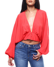 Fashion Lab - L/S Deep V-Neck Button Front Crop Blouse-2304229