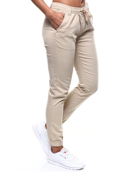 Fashion Lab - Drawstring Waist Twill Jogger