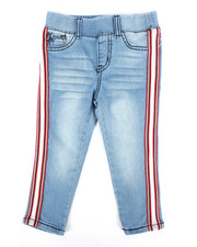 Girls - Baller Mesh Stripe Pull-On Jeans (2T-4T)-2305018