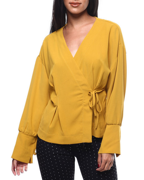 Fashion Lab - L/S Wrap Side Tie V-Neck