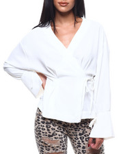 Fashion Lab - L/S Wrap Side Tie V-Neck-2304221