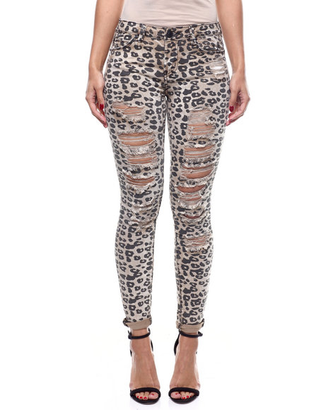 Almost Famous - Animal Print 5 Pocket Skinny Jean
