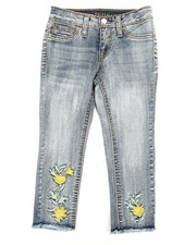 Girls - Floral Bling Ankle Jeans (4-6X)-2304875
