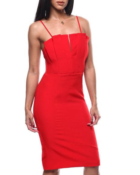 Fashion Lab - S/L Pleated V-Neck Midi Dress