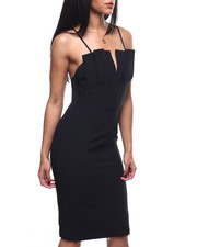 Dresses - S/L Pleated V-Neck Midi Dress-2304241