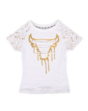 Girls - Foil Print Razor Slash Raglan Tee (7-16)-2305672