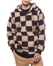 Outerwear - Check Pattern Sherpa Anorak Hoodie-2305734