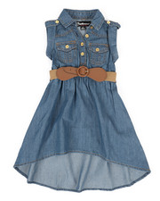 Girls - Belted Hi Low Chambray Dress (2T-4T)-2306021