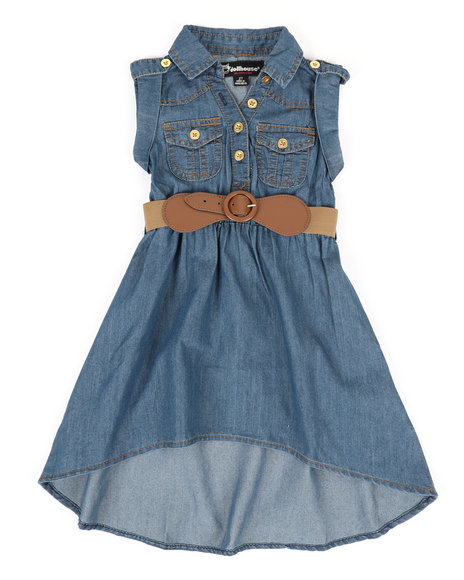 Dollhouse - Belted Hi Low Chambray Dress (2T-4T)