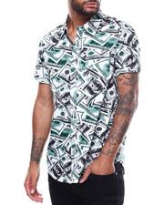 Shirts - SS MONEY PRINT BUTTON DOWN SHIRT-2306378