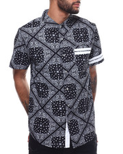 Shirts - SS BANDANA PRINT BUTTON DOWN SHIRT-2306383