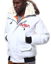 Mens-Winter - Nasa Fur Hood Bomber Jacket-2306972