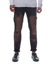 Slim - Distressed Moto Jean w Zipper Detail-2306862