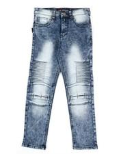 Bottoms - Washed Denim Stretch Moto Skinny Jeans (8-20)-2307170