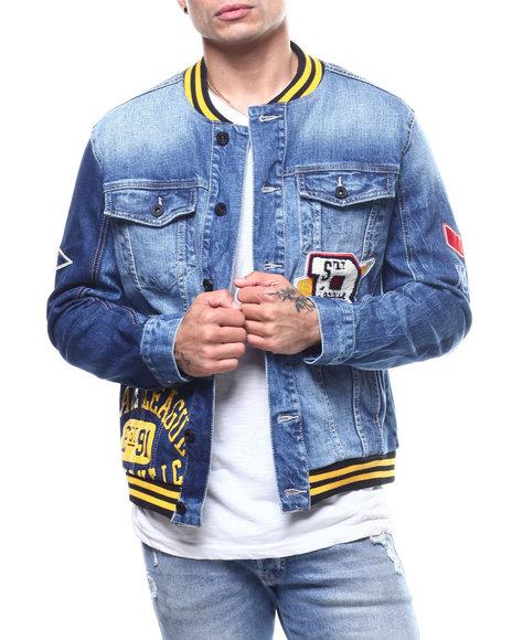 SMOKE RISE - Collegiate Denim Varsity Jacket