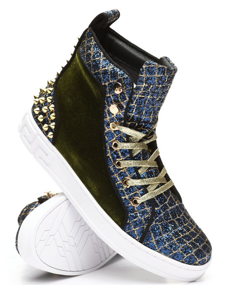 AURELIO GARCIA - High Top Velvet Glitter Sneakers