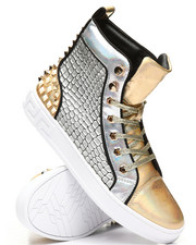 AURELIO GARCIA - High Top Studded Metallic Sneakers-2307983