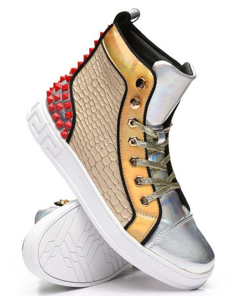 AURELIO GARCIA - High Top Studded Metallic Sneakers