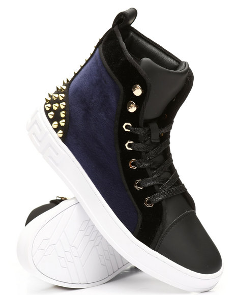 AURELIO GARCIA - High Top Velvet Studded Sneakers