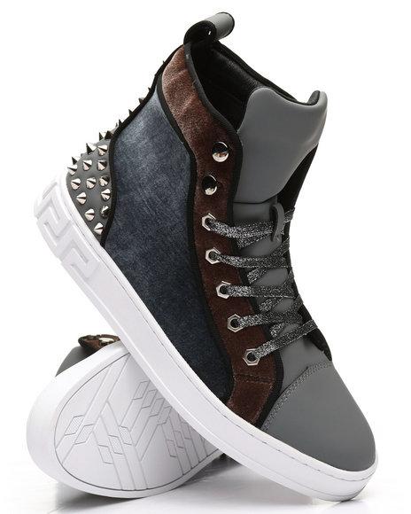 AURELIO GARCIA - High Top Velvet Studded Sneakers