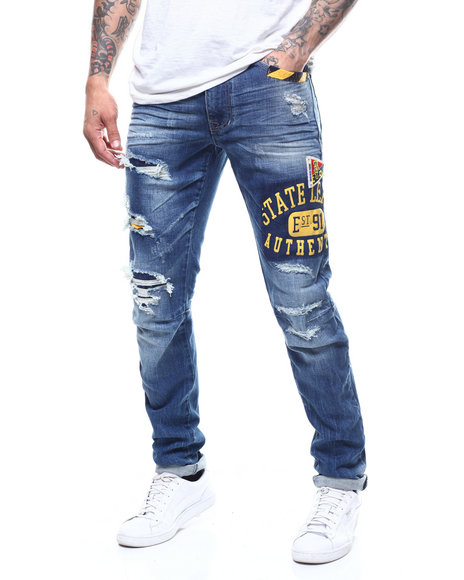 SMOKE RISE - Collegiate Patched Slim Jean