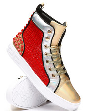 AURELIO GARCIA - High Top Studded Metallic Sneakers-2307997