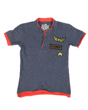 Boys - HTH Military Henley W/ Raw Edge Double Layer (4-7)-2308289