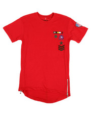 Boys - Elongated Tail Tee W/ Zippers And Badges (8-20)-2308372