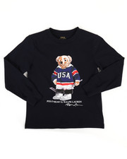 Boys - Long Sleeve Jersey Bear Tee (4-7)-2308242