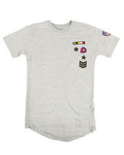 Boys - Elongated Tail Tee W/ Zippers And Badges (8-20)-2308264