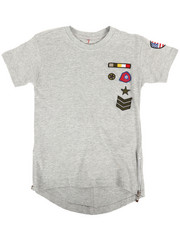 Boys - Elongated Tail Tee W/ Zippers And Badges (4-7)-2308259