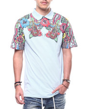 Shirts - Hibiscus Floral Pique Polo-2308826