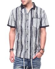 Shirts - Stripe Knit Collar Button Down Shirt-2308886