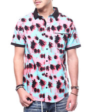 Shirts - Palm Tree Knit Collar Button Down Shirt-2308876