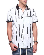 Men - Bar Stripe Knit Collar Button Down Shirt-2308881