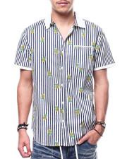 Men - Pineapple Knit Collar Button Down Shirt-2308871