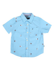 Boys - Stretch Allover Sailboat Print Shirt (2T-4T)-2308600
