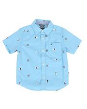 Boys - Stretch Allover Sailboat Print Shirt (4-7)-2308595