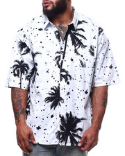 Big & Tall - Palm Tree Print Woven Shirts (B&T)-2307923