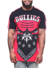Big & Tall - Oversized Bullies Grid Print Tape Shoulder Tee (B&T)-2309277
