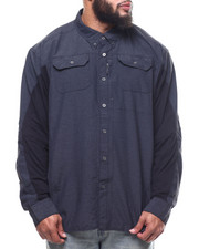 Big & Tall - Solid L/S Material Shirt (B&T)-2309363