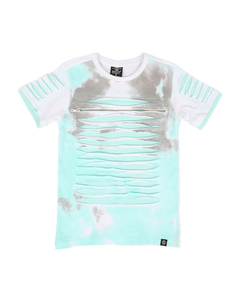 SWITCH - Tie Dye Print Razor Slashed Tee w/ Zipper (8-20)