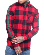 The Camper - FLANNEL BUFFALO PLAID PRINT  WITH STRIPE SLEEVE-2309611