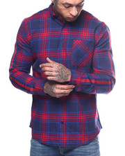 Button-downs - FLANNEL PLAID PRINT  WITH STRIPE SLEEVE-2309571